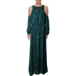 NWT Green Burnout Glitter Cold Shoulder Long Gown